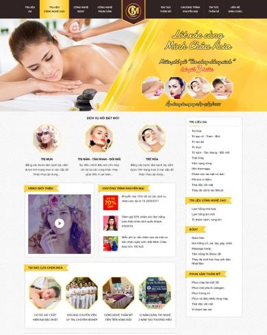 Mẫu thiết kế web thẩm mỹ spa màu gold