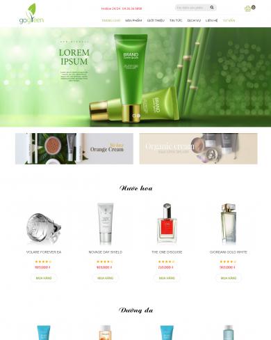 Mẫu thiết kế web mỹ phẩm