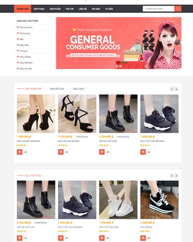 Mẫu thiết kế web bán giày
