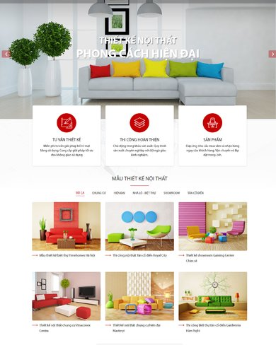 Mẫu thiết kế web nội thất hiện đại